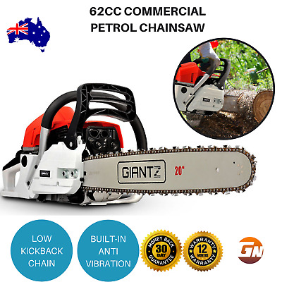 "Giantz 62CC Petrol Chainsaw Commercial 20"" Bar E-Start 2 Stroke - Red & White"