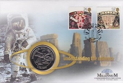 2000 Brilliant Uncirculated Millennium Isle Of Man Crown Coin Cover THE FUTURE