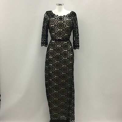 New Phase Eight Black Dress Formal Party Embroidered Crochet Beaded