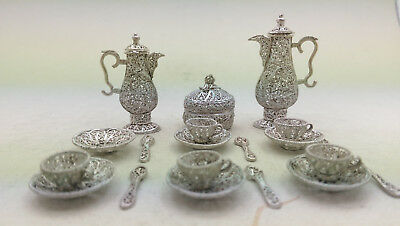 Miniature Silber Filigan Kaffeeservice Antique Coffee / Tea Set Silver Filigree