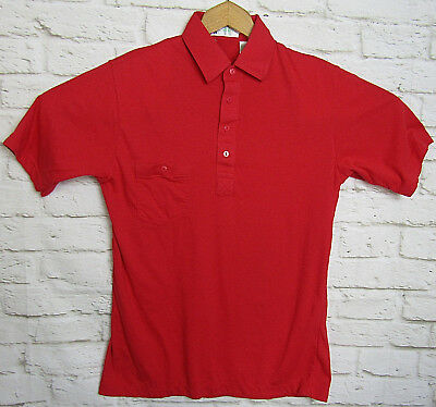 VTG Mens Golf Polo Shirt Defini Red 4 Button Pocket Size Medium Retro Casual