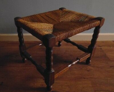 Vintage & Rustic Small Stool with Twisted Wood Legs & String Top - 30cm high