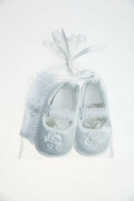 Playette Occasion Shoe & Headband Set White 0-3 Months