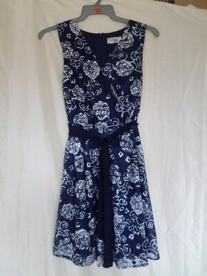 Madam Rage Navy White Floral Printed Lace Skater Dress Size 10 c2b26d7eb