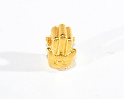 Solid 24k .999 Pure Gold Hamsa Protection from Evil Eye Charm by Mene Authentic