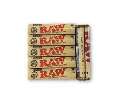 5 Packs of Authentic RAW KING SIZE SLIM Classic Rolling Papers+ RAW ROLLER 110mm