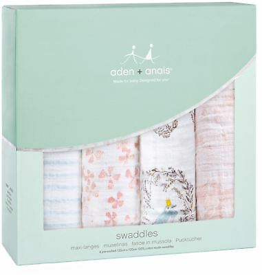 Aden + Anais CLASSIC SWADDLE 4 PACK BIRDSONG Baby Bedding Blankets BNIP