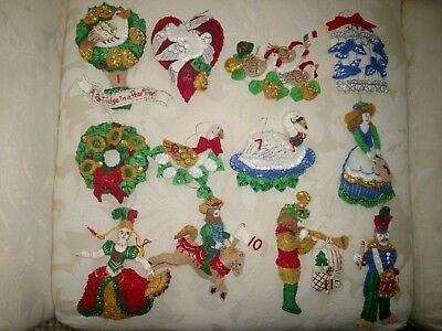 Bucilla 12 Days of Christmas COMPLETED ORNAMENTS-PARTRIDGE IN A PEAR TREE-86006