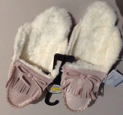 Girls  M&S MOCASSIN MULE Slippers Size Uk 3, LEATHER PINK,GLITTER,FAUX FUR LINED
