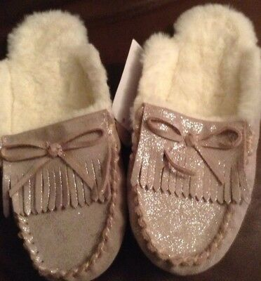 Girls  M&S MOCASSIN MULE Slippers Size Uk 2, LEATHER PINK,GLITTER,FAUX FUR LINED