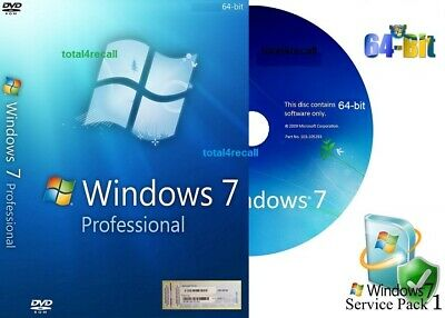 Windows 7 Professional 64 bit DVD SP1 Full Version & COA License Product Key PRO