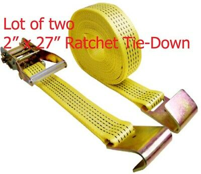 "Lots of Two 2"" x 27ft  Ratchet Tie Down Strap With Flat Hook 10,000LB each"