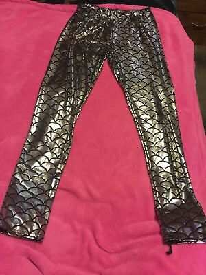 Young Girl MERMAID LEGGINGS Metallic Fish Scale Size Large Or Adult Small
