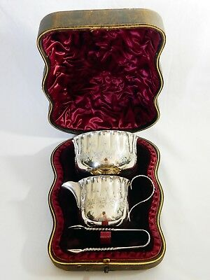 Antique Victorian 1893 Boxed Sterling Silver Sugar Bowl Creamer Milk Jug Tongs