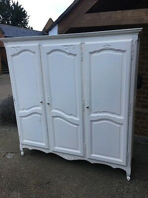 French Armoire white painted triple wardrobe