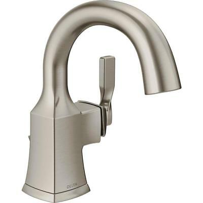 ~Delta Sawyer Spotshield Brushed Nickel Bathroom Faucet Centerset + Drain NEW