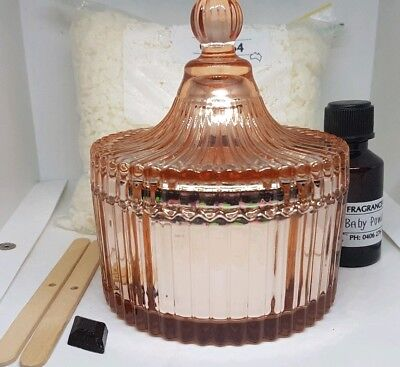 Soy Wax Candle Making Kit, Rose Gold Jar, Fragrance, Wicks, Free Post