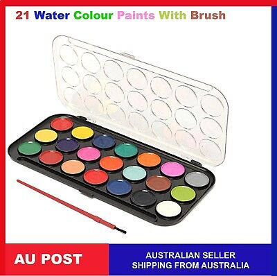 Kids 21 Water Colour Paints Brush Art Craft Paint Set Watercolours non Toxic