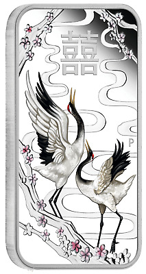2019 CHINESE WEDDING 1oz $1 SILVER PROOF COIN Rectangle Colorized
