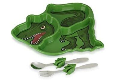Childrens Dinosaur Cutlery Set - Plate - Spoon - Fork - Boxed Me Time Meal Set