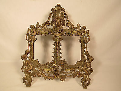 Antique Vintage Large Solid Brass Ornate Victorian Dual Picture Frame Cherubs