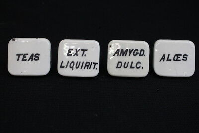 4 Antique White Porcelain Apothecary Drug General Store Labeled Drawer Pulls (A)