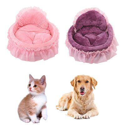 Pet Cat Dog -Puppy Princess Bow Small Large Lace Soft-Kennel Dog-house Warm Beds