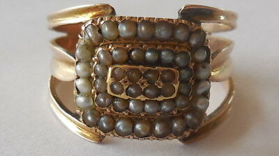 Ornate Victorian 15ct yellow gold (rosy hue) seed pearl ring sz 8.5, 4.28g
