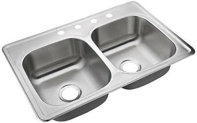 """Heavy Duty Satin 33"""" Stainless Steel Top Mount 4 Hole Double Bowl Kitchen Sink"""