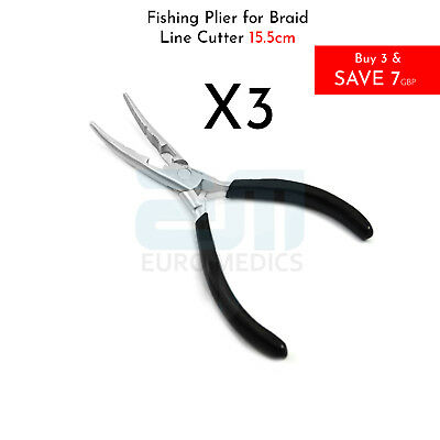3X Fishing Pliers Braid line Cutter Hook Holder Sea Salt Water Long Curved Nose