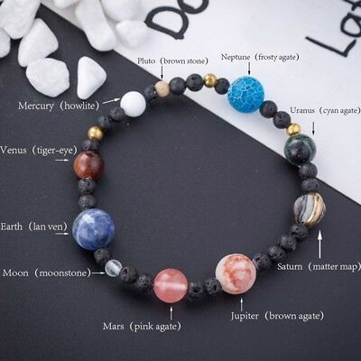Diy Weave Bracelet Galaxy Solar System Eight Planets Theme Natural Stone Beads