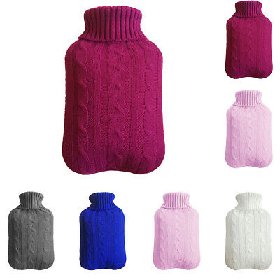 1PC Large 2L Natural Rubber Hot Water Bottle With Warm Removable Knitted Cover