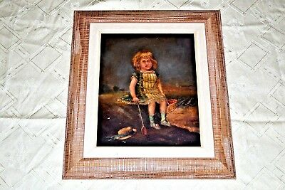 18thc Antique Rare French Portrait Oil Painting on Wood, Cute Young Girl