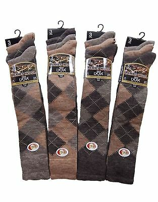 3, 6, 12 Pairs Mens Lambs Wool Blend Traditional Argyle Long Hose Socks
