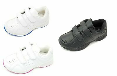 Kids Boys Girls Teens Plain White Black School Trainers Pumps Hook & Loop StrapB