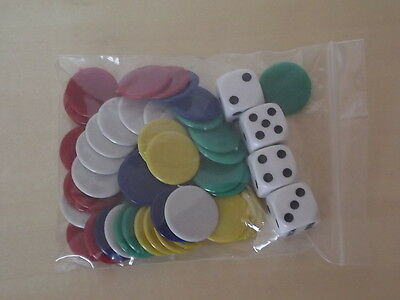 50 22mm PLASTIC COUNTERS - FIVE COLOURS TIDDLY WINKS/BOARD GAMES & 4 16MM DICE