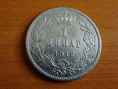 Serbia Silver 1 Dinar 1912 Peter I 1903-1918 AD Serbian Silver Coin