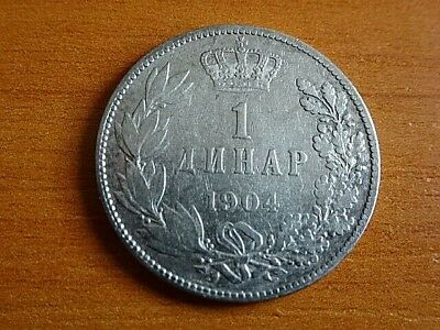 Serbia Silver 1 Dinar 1904 Peter I 1903-1918 AD Serbian Silver Coin