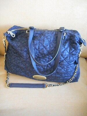 Mulberry Net A Porter Rosie Black Blue Fabric Mitzy Hobo Leather Bag d692285793273