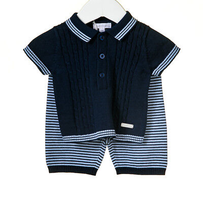 18Mths SALE! Boys Romany Spanish Baby Sailor short set with Navy Shorts Set 1M