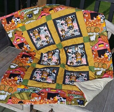 Handmade Patchwork Funny Farm Animals Brown Black Baby Quilt Cotton Blanket