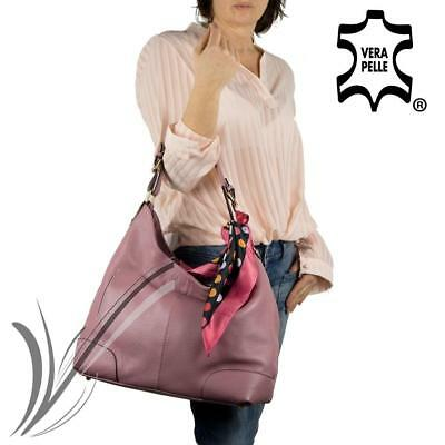 Borsa in pelle donna Italy made hobo bag rosa grande capiente shopping a spalla