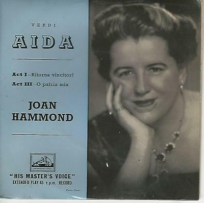 """Joan Hammond  """"His Master's Voice Aida """"  7""""  Made In Great Britain"""