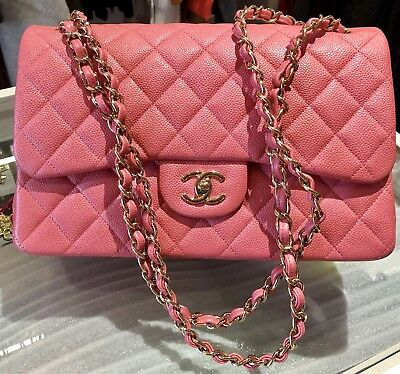 54872ae1f2b3 CHANEL 2018 18S PINK CAVIAR JUMBO Double Flap Gold HW ROSEY PINK*NEW.  Receipt