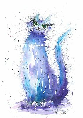 Painting Midnight Cat Watercolour Art Print From Original by Artist Sophie