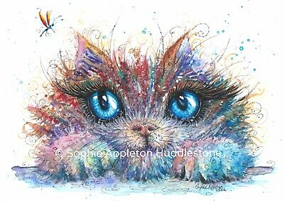 Painting Kitty Catcher Cat Watercolour Art Print From Original by Artist Sophie