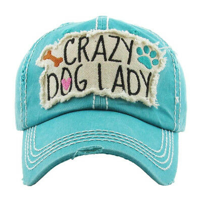 c24ebe5b510 Womens Distressed Vintage Crazy Dog Lady Hat One-Size Baseball Cap Many  Colors
