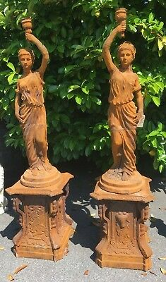 Pair of Torchere Lady figures in cast iron including bases . not wired
