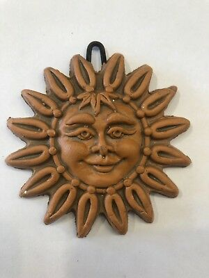 Sicilian Pottery-3 Inch Sun Face Caltagirone.Made by hand in Italy