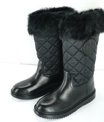 3aaadff02b56 NEW Tory Burch JOEY Black Quilted Fur Topped Leather Winter Boots Size 5M
